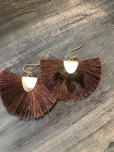 Leopard Feather and Dark Brown Silk Earrings. Bohemian,