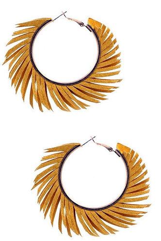 Mustard Yellow Pigskin Leather Fringe Earrings