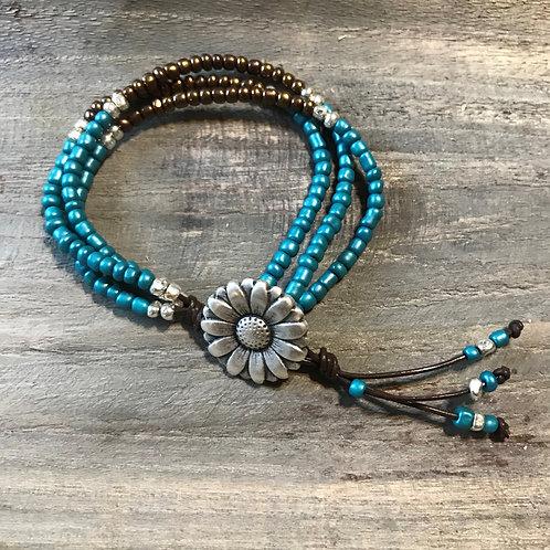 Leather Wrap Bracelet For Women/ Seed Bead Wrap Bracelet