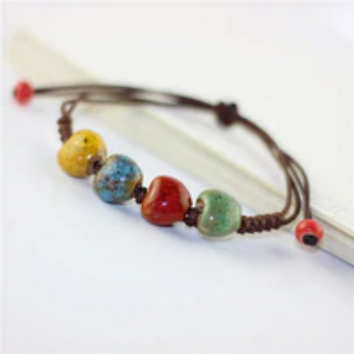 Ceramic Bead Bracelet With 4 Colors, Leather Tie with Adjustable Sliding Knot. N