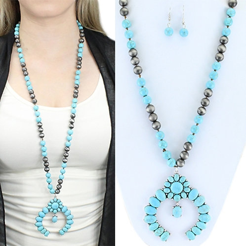 Squash Blossom Long Pendent with Earrings. Turquoise & Gray Beads. Southwest, Bo