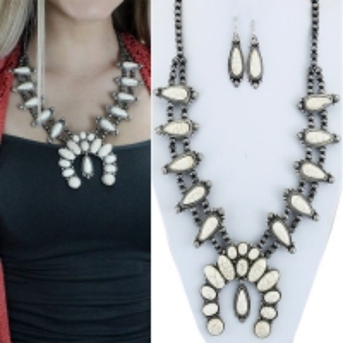 Squash Blossom Set, White and Silver Oval Shape with Matching Earrings. Reproduc