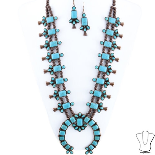 Turquoise and Silver Big Squash Blossom Necklace and Earrings Set. Traditional S