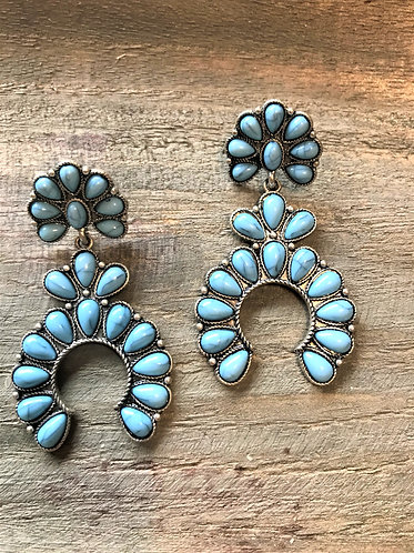 Blue Turquoise and Silver  Earrings. Squash Blossom with Floweret
