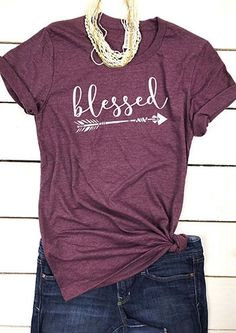 Burgundy Blessed Arrow Tee, Soft and Comfy