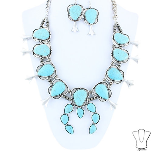 Big and Bold Turquoise and Silver Squash Blossom Necklace and Earrings set. sout