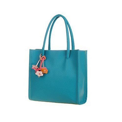 Spring color! Blue medium size handbag.Removable flower accent