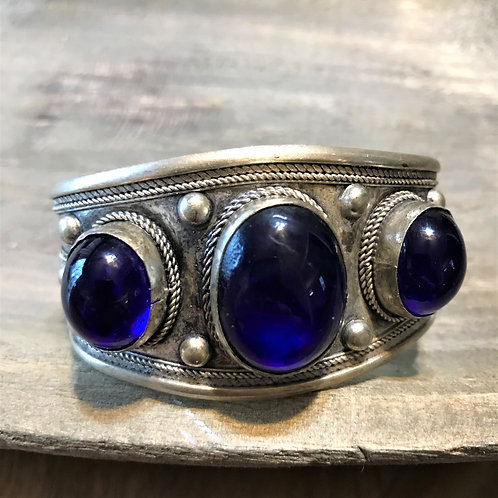 Silver and  Tanzanite Navy Blue Color Stone Bracelet Cuff.