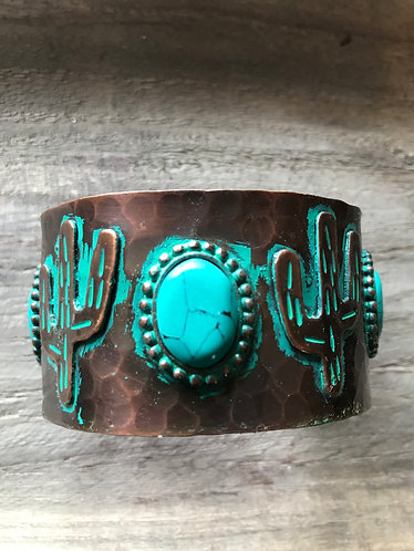 Hammered Copper and  Turquoise Stone Bracelet,  Patina Cactus. Adjustable