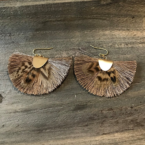 Leopard Feather and Light Brown Silk Fringe Earrings,