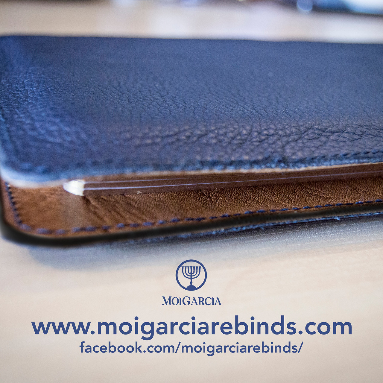 Navy blue cowhide notebook cover