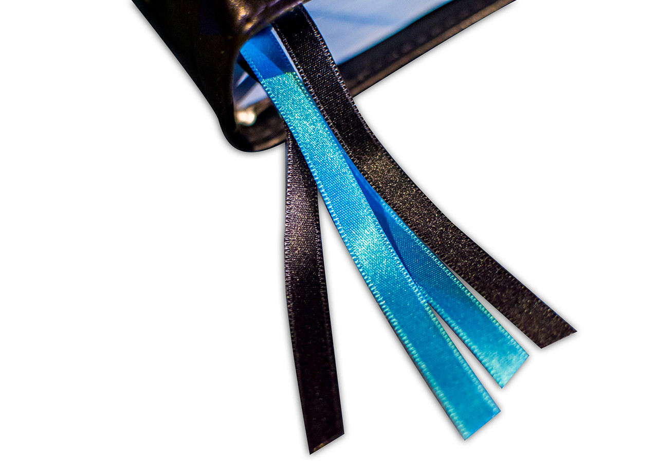 Two light and two dark blue ribbons