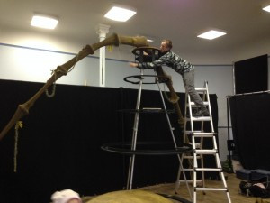 Technical Director, James Kendal dismantles the tree after our preview performances