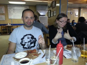 Finnish Pancakes in Thunder Bay. L to R: Daniel Krolik and Sandi Becker.