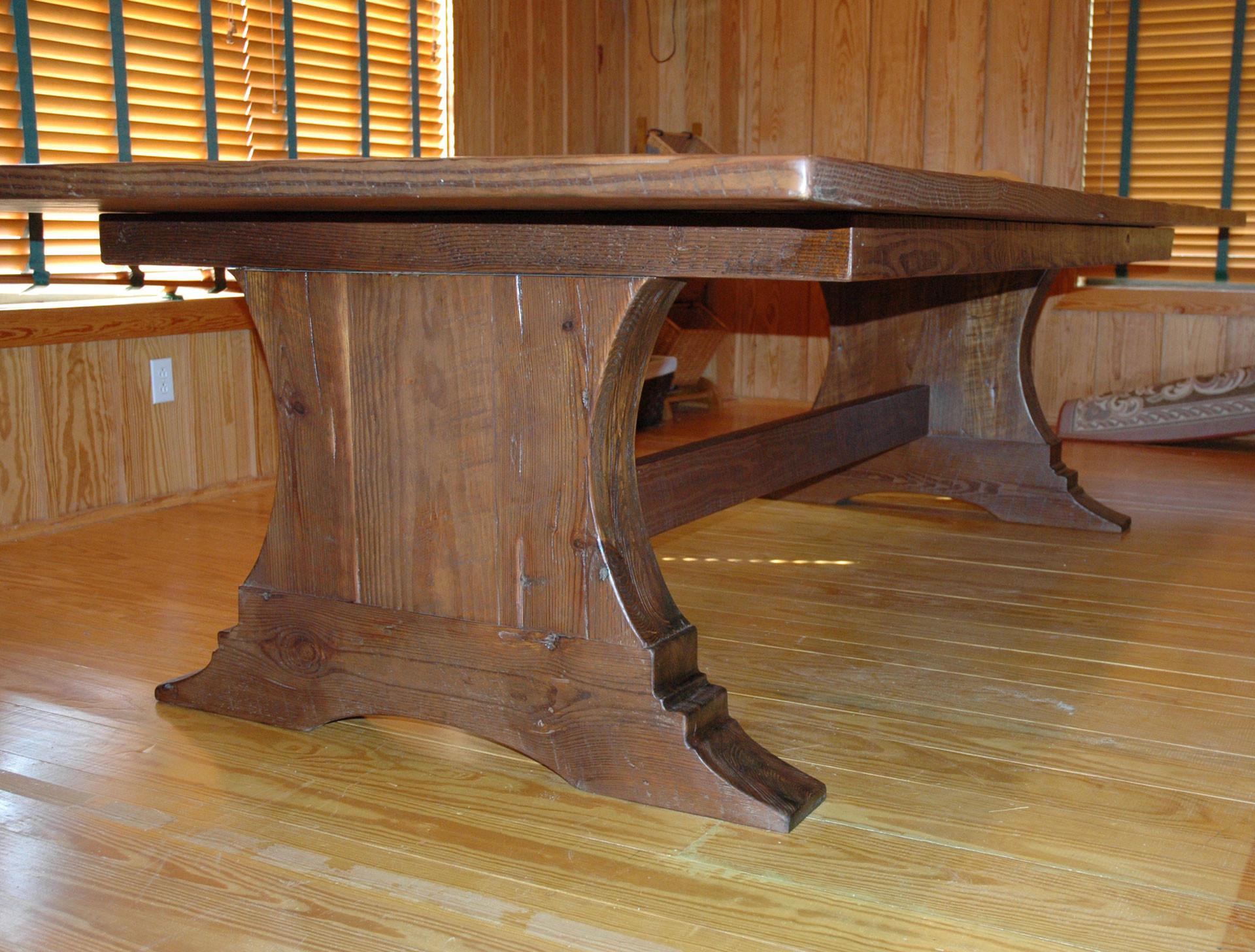 Heart Pine Tressel Table Base