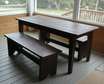 Reclaimed Heart Pine Tableand Benches