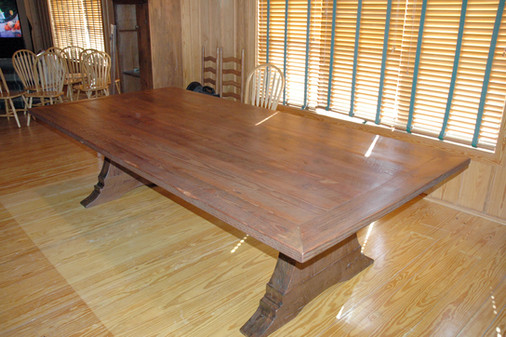 Heart Pine Tressel Table