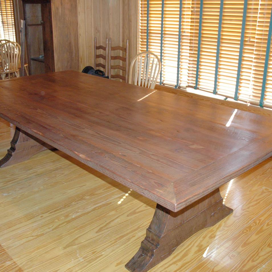 Heart Pine Tressel Table