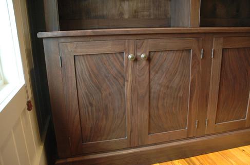 Figured Walnut Bookcase Detail