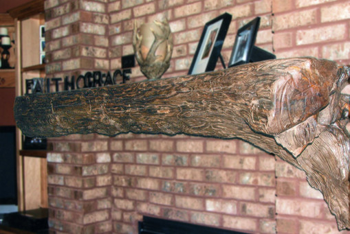 Pine Log Mantel