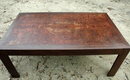 Burl Table Top with Ebony Inlay