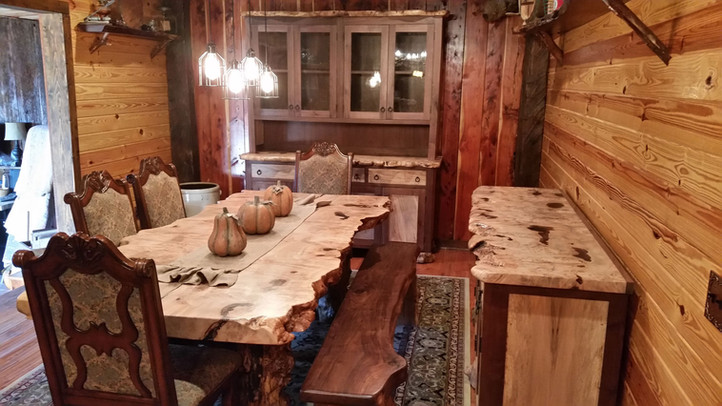Maple Burl Dining Room Set