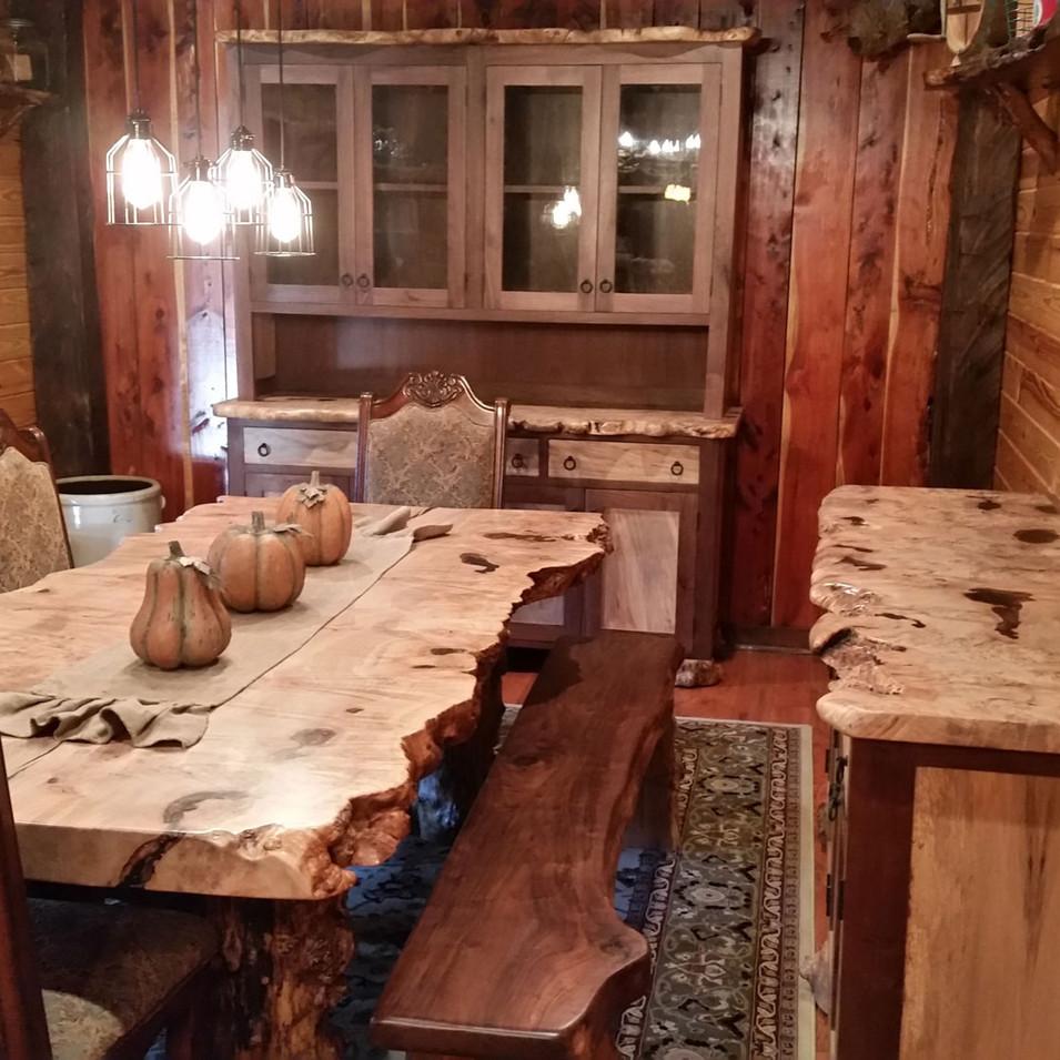 Maple Burl Dining Room Set