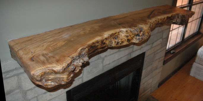Live Edge Maple Burl Mantel