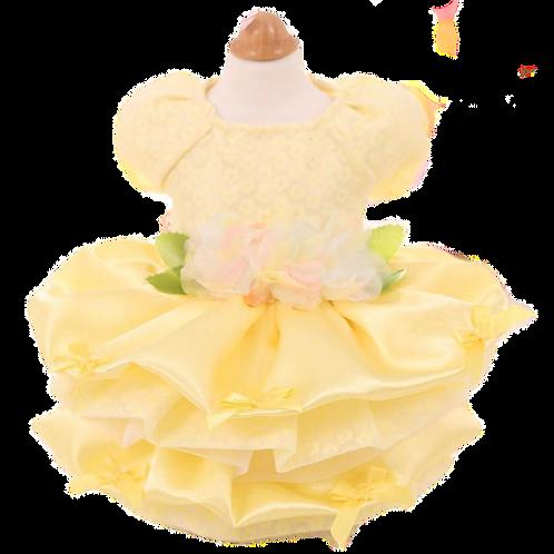 MKO Dog and Cat Babydoll Princess Dress Yellow