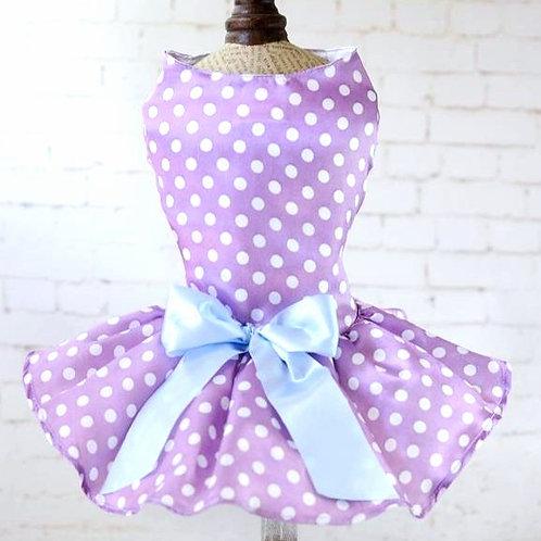 BUFFY Eyecatching Dog Dress Wedding dress purple white dots outfit