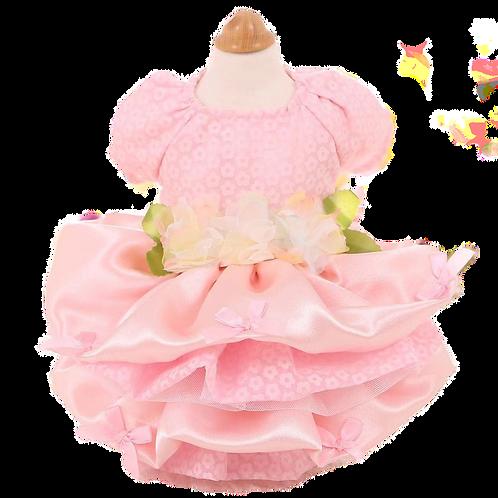 MKO Dog and Cat Babydoll Princess Dress Pink