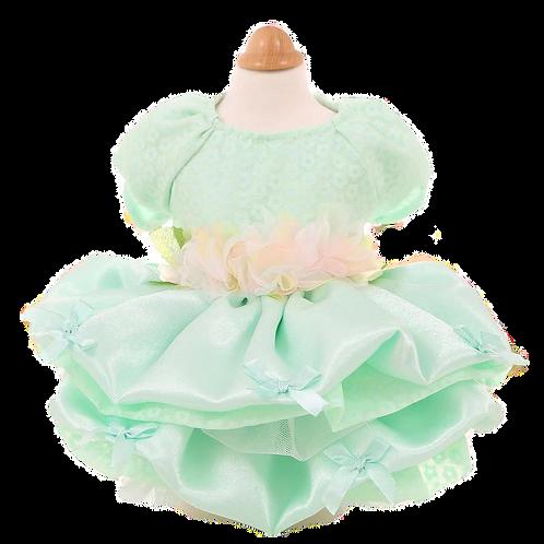 MKO Dog and Cat Babydoll Princess Dress Green