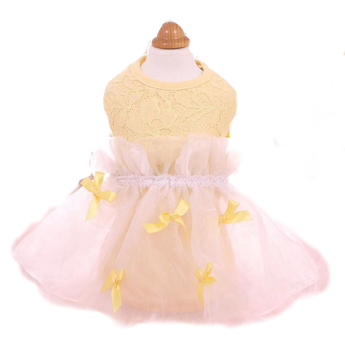 MKO Lace elegant dog / cat dress pink yellow assorted size