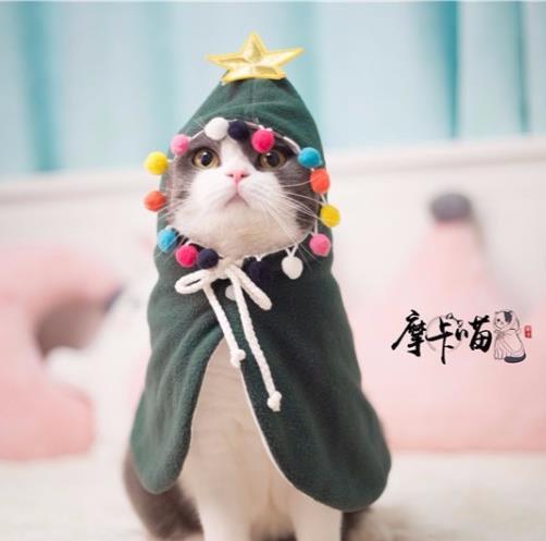 Pet Cloak Chrismas tree cat cloak outfit