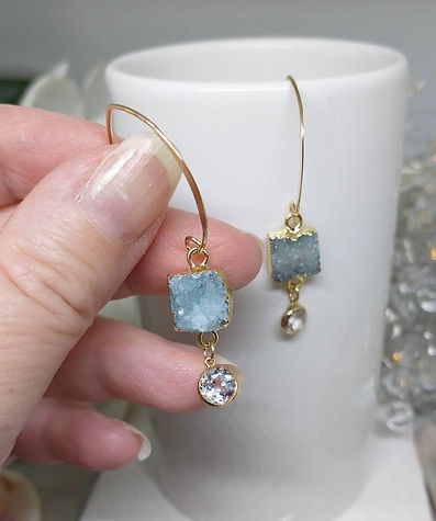 Gold fill arched earwires with sea green drusy quartz and white topaz drops