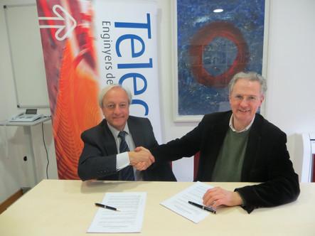 Signatura del conveni amb l'Associació Catalana d'Enginyers de Telecomunicació