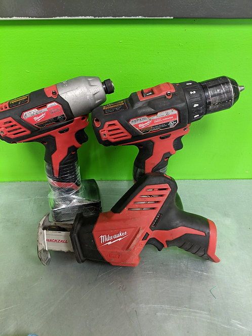 Milwaukee 12v Cordless Tool Sets 3pc With 2 Batteries And Charger