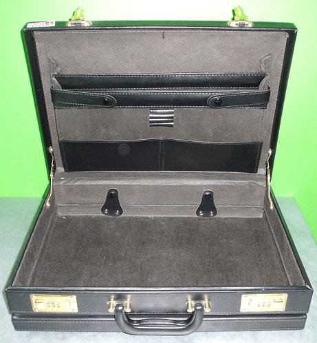 Black Leather Briefcase w/ Combo Locks - Washington