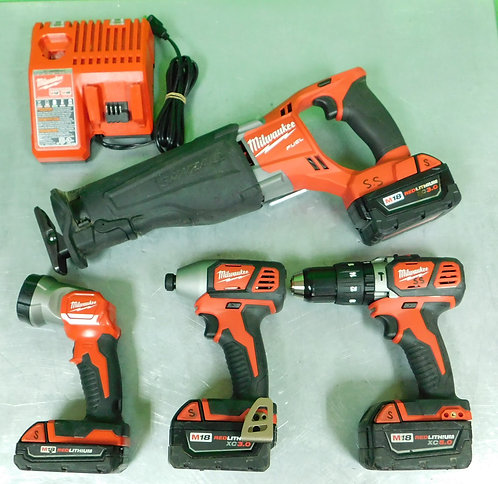 Milwaukee Cordless M18 Recp Saw, Drill, Driver, and Flashlight Kit - 2656-20 - W