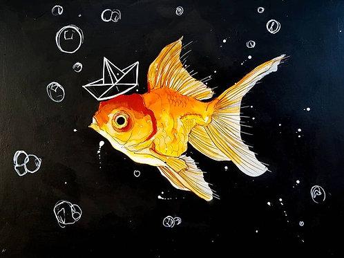 HAPPY FISH, PAPER HAT
