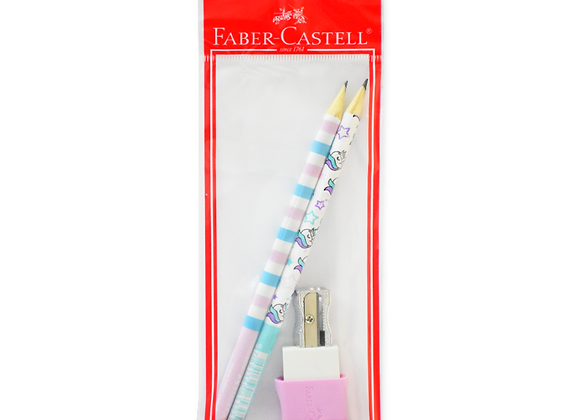 Set N°1 Unicornio Faber-Castell (lapiz, goma, sacapuntas)