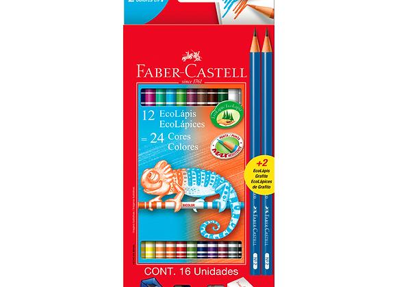 Lapices Bicolores x12 con Kit Faber-Cast