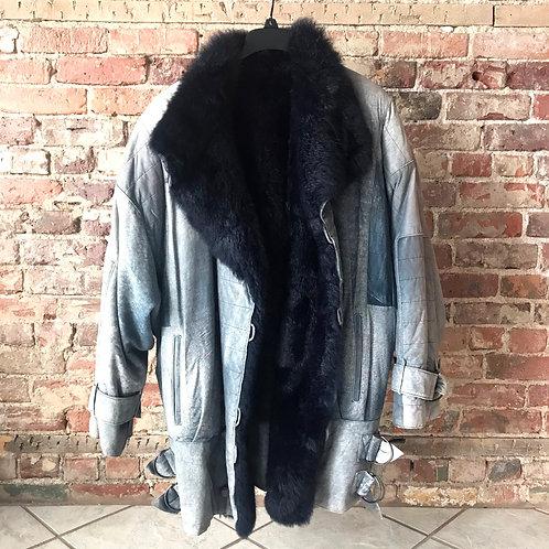 Blue Leather Fur Coat
