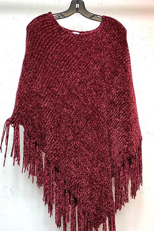 Red Knit Poncho (L-XL)