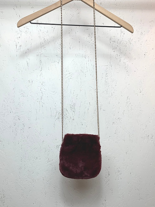 Maroon Furry Purse