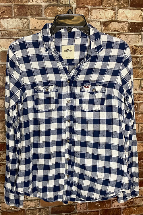 Hollister co. blue and white flannel button up