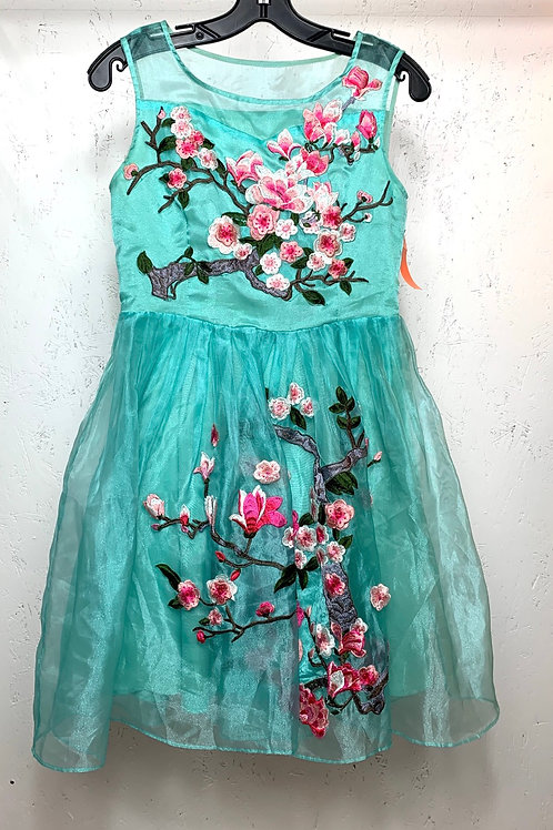 Blue Tulle Embroidered Dress