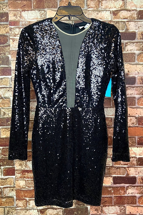 Rare London black sequence low neck line
