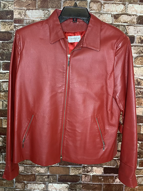 Tribeca red leather jacket