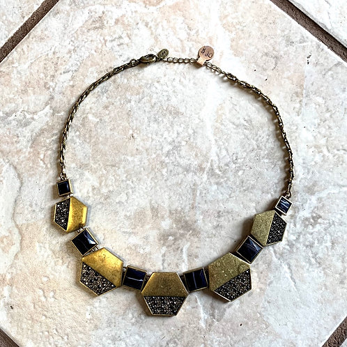 Loft gold/black diamond hexagon necklace